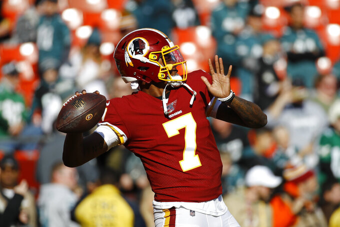 Washington Redskins quarterback Dwayne Haskins warming up before the start of the first half of an NFL football game, Sunday, Dec. 15, 2019, in Landover, Md. (AP Photo/Patrick Semansky)