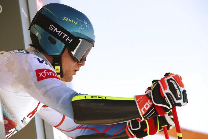 United States' Ryan Cochran Siegle prepares to start during an alpine ski, men's World Cup giant slalom, in Soelden, Austria, Sunday, Oct. 24, 2021. (AP Photo/Gabriele Facciotti)