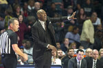 Wake Forest coach Danny Manning gestures to players in overtime of the team's NCAA college basketball game against Duke on Tuesday, Feb. 25, 2020, in Winston-Salem, N.C. (AP Photo/Lynn Hey)