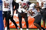 Alabama's Terell Lewis (24) of the South squad runs drills during practice for the Senior Bowl college football game, Wednesday, Jan. 22, 2020, in Mobile, Ala. (AP Photo/Butch Dill)
