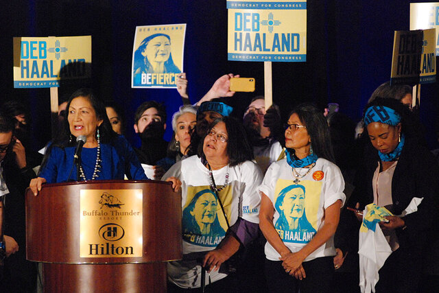 U.S. Rep. Debra Haaland of Albuquerque, N.M., seeks support from local party delegates at the Democratic Party preprimary convention in Pojoaque, N.M., Saturday, March 7, 2020. Candidates for open congressional and Senate seats underwent the first test of their political might as the Democratic and Republican parties of New Mexico held statewide conventions. The conventions decide the ballot order for candidates in the state's primary election on June 2. (AP Photo/Morgan Lee)