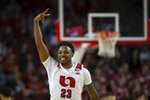 Nebraska guard Jervay Green (23) celebrates after  3-point shot against Wisconsin during an NCAA college basketball game in Lincoln, Neb., Saturday, Feb. 15, 2020. (AP Photo/John Peterson)