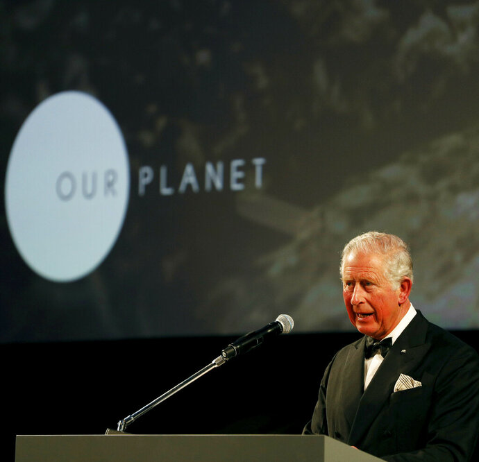 Britain's Prince Charles gives a speech during the global premiere of Netflix's