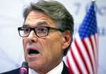 In this Oct. 7, 2019 photo, Energy Secretary Rick Perry speaks during a news conference following the forum Partnership for Transatlantic Energy Cooperation (P-TEC) in the Radisson Blu Hotel Lietuva, in Vilnius, Lithuania. Perry is being called to testify in the House impeachment inquiry. Perry, the first member of President Donald Trump's Cabinet who has asked to appear before House investigators, is scheduled for Wednesday, according an official working on the impeachment inquiry but unauthorized to discuss it publicly. It's unclear if Perry would show up for the closed-door session.(AP Photo/Mindaugas Kulbis)