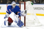 New York Rangers goaltender Henrik Lundqvist makes a save against the Detroit Red Wings during the first period of their NHL hockey game, Wednesday, Nov. 6, 2019, at Madison Square Garden in New York. (AP Photo/Mary Altaffer)