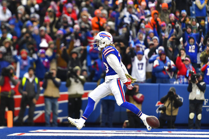 Buffalo Bills wide receiver Cole Beasley (10) reacts after scoring a touchdown against the Denver Broncos during the third quarter of an NFL football game, Sunday, Nov. 24, 2019, in Orchard Park, N.Y. (AP Photo/Adrian Kraus)