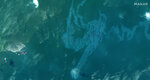 This Sept. 4, 2021, satellite image provided by Maxar shows a view of oil slicks in the Gulf of Mexico near East Timbalier Island National Wildlife Refuge in Louisiana, in the aftermath of Hurricane Ida. (Satellite image ©2021 Maxar Technologies via AP)