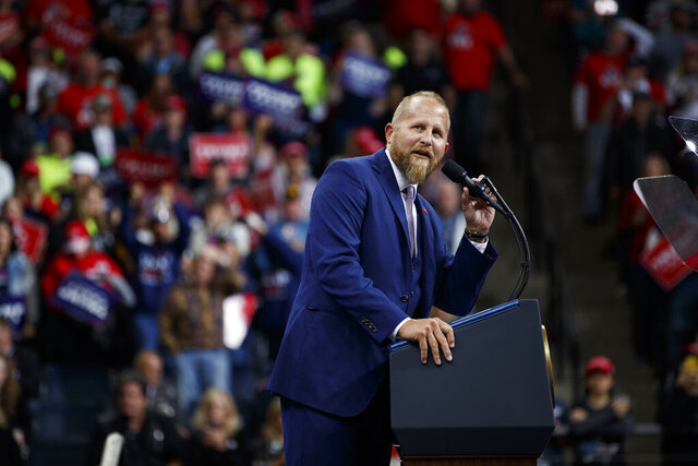 FILE - In this Oct. 10, 2019, file photo, Brad Parscale, then-campaign manager for President Donald Trump, speaks during a campaign rally at the Target Center in Minneapolis. Parscale was hospitalized Sunday, Sept. 27, 2020, after he threatened to harm himself, according to Florida police and campaign officials. (AP Photo/Evan Vucci, File)
