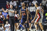 Auburn forward Anfernee McLemore (24) reacts after making a 3-pointer against Mississippi in the first overtime of an NCAA college basketball game in Oxford, Miss., Tuesday, Jan. 28, 2020. Auburn won 83-82 in double overtime. (Bruce Newman/The Oxford Eagle via AP)