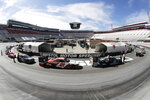 In this picture made with a fisheye lens, cars are readied for a NASCAR Xfinity Series auto race at Bristol Motor Speedway Monday, June 1, 2020, in Bristol, Tenn. (AP Photo/Mark Humphrey)