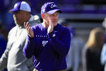 Kansas State head coach Chris Klieman applauds this team before an NCAA college football game against West Virginia in Manhattan, Kan., Saturday, Nov. 16, 2019. (AP Photo/Orlin Wagner)