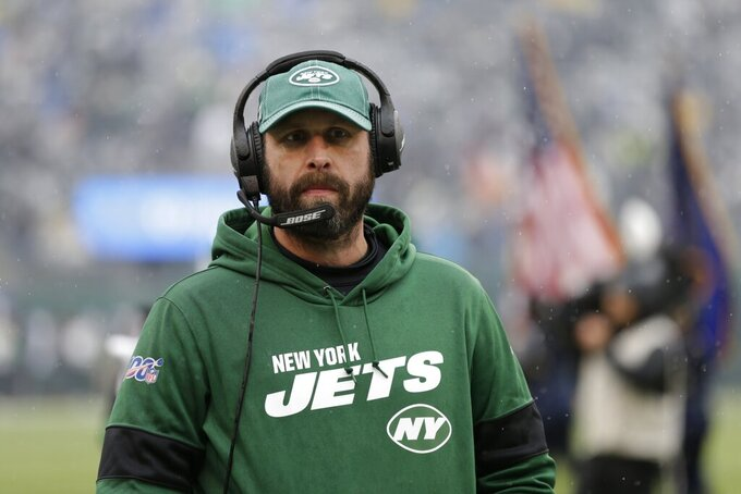 New York Jets head coach Adam Gase looks on before an NFL football game against the Oakland Raiders, Sunday, Nov. 24, 2019, in East Rutherford, N.J. (AP Photo/Adam Hunger)