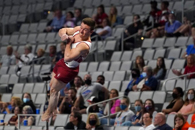 Brody Malone competes in the vault during the U.S. Gymnastics Championships, Saturday, June 5, 2021, in Fort Worth, Texas. (AP Photo/Tony Gutierrez)