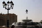 British inventor Richard Browning uses a jet pack to display his technology at the Ritz Carlton Hotel where the Future Investment Initiative forum is being held in Riyadh, Saudi Arabia, Tuesday, Oct. 29, 2019. The long-planned initial public offering of a sliver of Saudi Arabia's state-run oil giant Saudi Aramco will see shares traded on Riyadh's stock exchange in December, a Saudi-owned satellite news channel reported Tuesday as the kingdom's marquee investment forum got underway. (AP Photo/Amr Nabil)