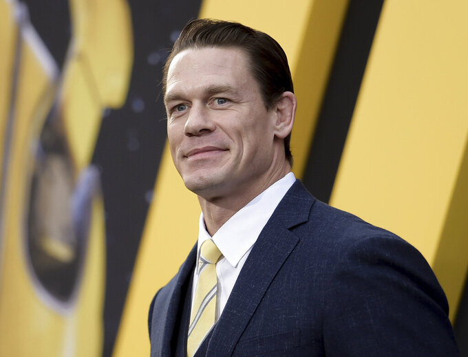 "FILE - This Dec. 9, 2018 file photo shows John Cena at the premiere of ""Bumblebee"" in Los Angeles. Cena stars in ""64th Man"", an audio series premiering on Audible on Thursday.  (Photo by Richard Shotwell/Invision/AP, File)"