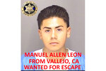 This undated booking photo released by the Merced County Sheriff's Office shows escapee inmate Manuel Allen Leon, from Vallejo, Calif. Authorities in central California are searching for six inmates, including Leon, who used a