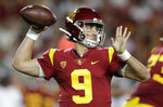 Southern California quarterback Kedon Slovis throws a pass against Stanford during the first half of an NCAA college football game Saturday, Sept. 7, 2019, in Los Angeles. (AP Photo/Marcio Jose Sanchez)
