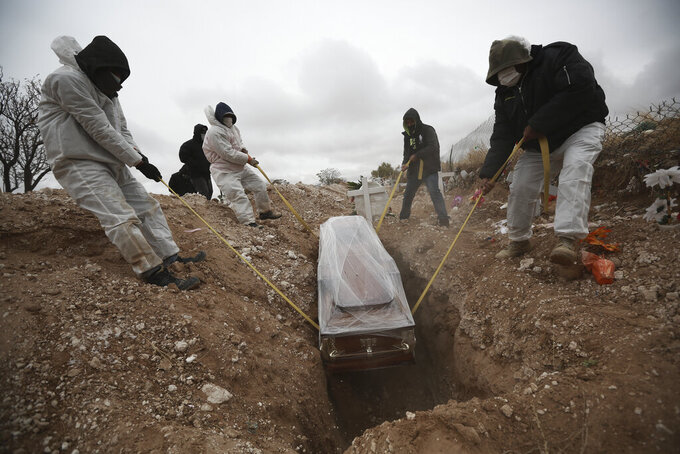FILE - In this Oct. 27, 2020 file photo, workers wearing full protection gear amid the new coronavirus pandemic, lower a coffin into a grave in an area of the San Rafael municipal cemetery set apart for people who have died from COVID-19, in Ciudad Juarez, Mexico. According to a report released the third week of April, by the University of California, San Francisco, Mexico would have had a significantly lower COVID-19 death toll if it had reacted as well as the average government. (AP Photo/Christian Chavez, File)