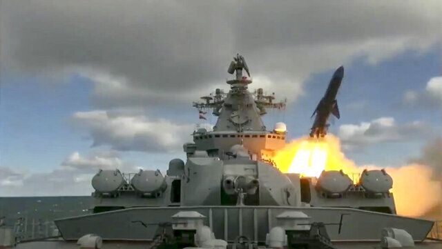 In this undated video grab provided by Russian Defense Ministry Press Service, Russia's Varyag missile cruiser fires a cruise missile as part of the Russian navy manoeuvres in the Bering Sea. The Russian navy has conducted massive war games near Alaska involving dozens of ships and aircraft, the biggest such drills in the area since Soviet times. (Russian Defense Ministry Press Service via AP)