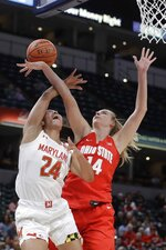 Maryland's Stephanie Jones (24) is fouled by Ohio State's Dorka Juhasz (14) as she goes up for a shot during the first half of an NCAA college basketball championship game at the Big Ten Conference tournament, Sunday, March 8, 2020, in Indianapolis. (AP Photo/Darron Cummings)