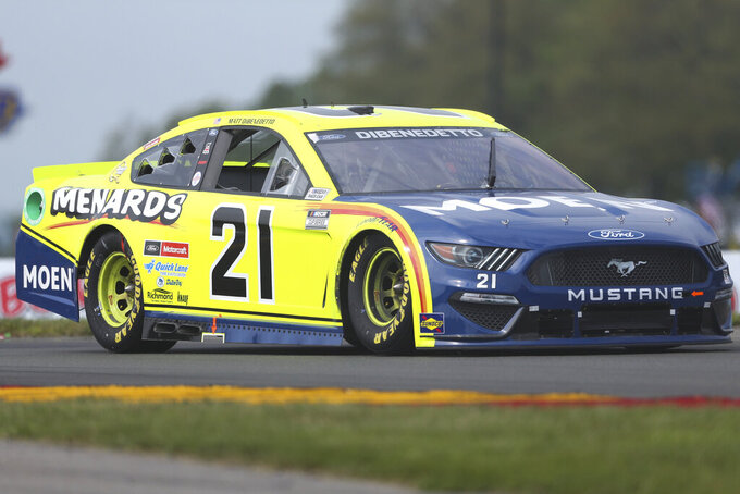 Matt DiBenedetto drives through the Bus Stop during a NASCAR Cup Series auto race in Watkins Glen, N.Y., on Sunday, Aug. 8, 2021. (AP Photo/Joshua Bessex)