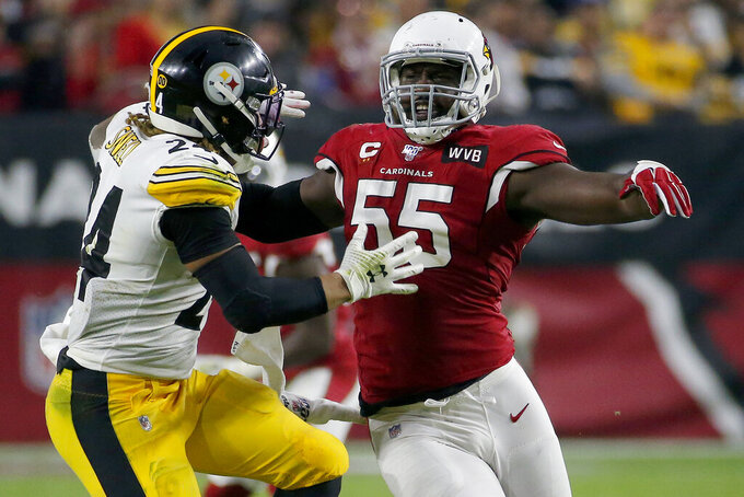 Arizona Cardinals linebacker Chandler Jones (55) blocks Pittsburgh Steelers running back Benny Snell (24) during the second half of an NFL football game, Sunday, Dec. 8, 2019, in Glendale, Ariz. (AP Photo/Rick Scuteri)