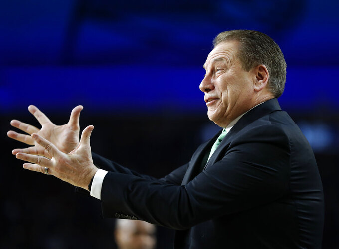 Michigan State head coach Tom Izzo reacts to a call during the first half against Texas Tech in the semifinals of the Final Four NCAA college basketball tournament, Saturday, April 6, 2019, in Minneapolis. (AP Photo/Jeff Roberson)