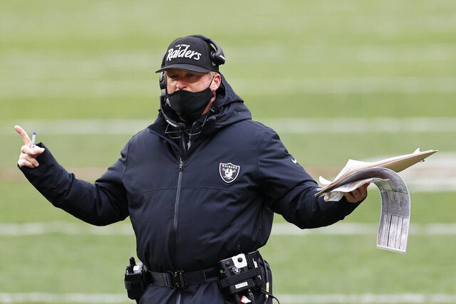 Las Vegas Raiders head coach Jon Gruden reacts during the second half of an NFL football game against the Cleveland Browns, Sunday, Nov. 1, 2020, in Cleveland. (AP Photo/Ron Schwane)