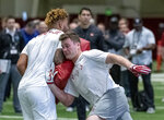 Alabama's Hale Hentges (near) and Alabama's Irv Smith Jr. spar in drills at the Alabama NFL Pro Day, Tuesday, March 19, 2019, in Tuscaloosa, Ala. (AP Photo/Vasha Hunt)