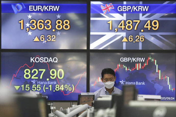A currency trader watches monitors at the foreign exchange dealing room of the KEB Hana Bank headquarters in Seoul, South Korea, Thursday, Sept. 24, 2020. Asian shares were mostly lower Thursday as caution again after a retreat on Wall Street driven by a decline in technology shares.(AP Photo/Ahn Young-joon)