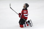New Jersey Devils center Blake Coleman celebrates his open net goal on the Tampa Bay Lightning during the third period of Game 3 of an NHL first-round hockey playoff series, Monday, April 16, 2018, in Newark, N.J. The Devils won 5-2. (AP Photo/Julio Cortez)