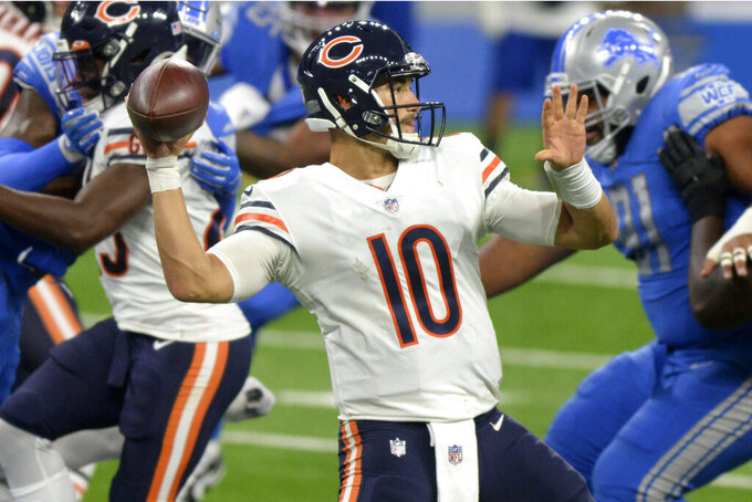 FILE - In this Sunday, Sept. 13, 2020, file photo, Chicago Bears quarterback Mitchell Trubisky throws a pass in the second half of an NFL football game against the Detroit Lions in Detroit. The Bears hope to win back-to-back games to start a season for the first time in seven years and deny the Giants their first victory under new coach Joe Judge when New York visits Soldier Field on Sunday (AP Photo/Jose Juarez, File)