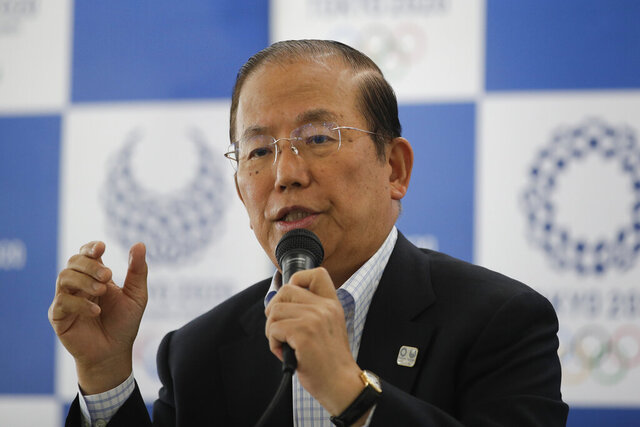 Toshiro Muto, CEO of the 2020 Tokyo Olympics organizing committee, speaks during a news conference Tuesday, June 11, 2019, in Tokyo. Next year's postponed Tokyo Olympics — if they happen — will be like no other, particularly for non-Japanese fans if they are allowed to enter in the middle of the COVID-19 pandemic. Tokyo organizing committee CEO Muto, after a meeting Thursday, Nov. 12, 2020, about infection countermeasures, confirmed for the first time that a limited number of non-Japanese fans may be allowed to attend. (AP Photo/Jae C. Hong)