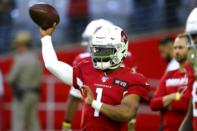 Arizona Cardinals quarterback Kyler Murray (1) warms up prior to an NFL football game against the Los Angeles Rams, Sunday, Dec. 1, 2019, in Glendale, Ariz. (AP Photo/Ross D. Franklin)