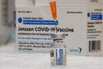 FILE - In this April 8, 2021 file photo, the Johnson & Johnson COVID-19 vaccine is seen at a pop up vaccination site in the Staten Island borough of New York. The U.S. Food and Drug Administration is allowing the problem-plagued factory of contract manufacturer Emergent BioSolutions to resume production of COVID-19 vaccine bulk substance to resume, the company said Thursday, July 29. The Baltimore factory was shut down by the FDA in mid-April due to contamination problems that forced the company to trash the equivalent of tens of millions of doses of vaccine it was making under contract for Johnson & Johnson. (AP Photo/Mary Altaffer, File)