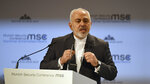 Iranian Foreign Minister Mohammad Javad Zarif speaks during the Munich Security Conference in Munich, Germany, Sunday, Feb. 17, 2019. (AP Photo/Kerstin Joensson)