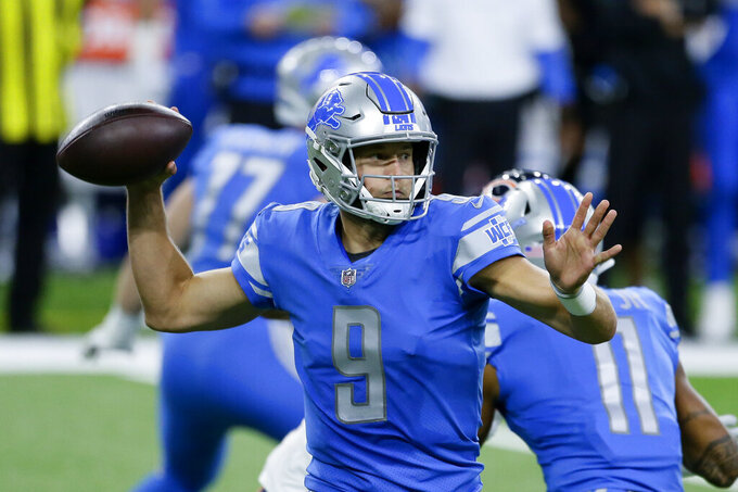 Detroit Lions quarterback Matthew Stafford throws against the Chicago Bears in the first half of an NFL football game in Detroit, Sunday, Sept. 13, 2020. (AP Photo/Duane Burleson)