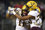 Minnesota defensive back Antoine Winfield Jr. (11) and defensive back Jordan Howden (23) celebrate after Winfield intercepts the ball for a touchdown during the second half of an NCAA college football game against Rutgers Saturday, Oct. 19, 2019, in Piscataway, N.J. (AP Photo/Sarah Stier)