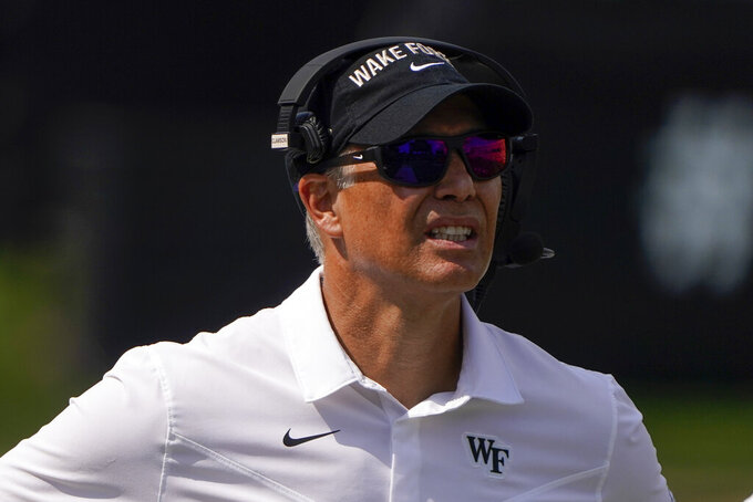 Wake Forest head coach Dave Clawson watches during the second half of a NCAA college football game against the Norfolk State Saturday, Sept. 11, 2021, in Winston-Salem, N.C. (AP Photo/Chris Carlson)