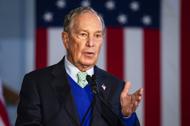 Democratic presidential candidate Mike Bloomberg, former mayor of New York City, speaks during a rally at Olive-Harvey College on the Far South Side  of Chicago, Wednesday morning, Jan. 8, 2020. (Ashlee Rezin Garcia/Chicago Sun-Times via AP)