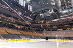 Fresh surfaced ice at Scotiabank Arena, home of the NHL hockey club Toronto Maple Leafs, is shown in Toronto, Thursday, March 12, 2020. The NHL is following the NBA's lead and suspending its season amid the coronavirus outbreak, the league announced Thursday.(Joshua Clipperton/The Canadian Press via AP)