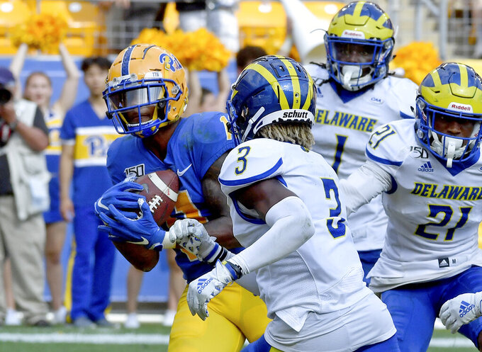 Pitt wide receiver Taysir Mack pulls in a pass for a touchdown in the fourth quarter of an NCAA college football game against Delaware Saturday, Sept. 28 2019, at Heinz Field in Pittsburgh. (Matt Freed/Pittsburgh Post-Gazette via AP)