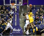 Washington forward Isaiah Stewart (33) can't block the shot from Arizona State forward Romello White (23) during an NCAA college basketball game Saturday, Feb. 1, 2020, in Seattle. (Amanda Snyder/The Seattle Times via AP)
