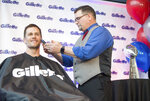 IMAGE DISTRIBUTED  FOR GILLETTE - New England Patriots quarterback Tom Brady got his smoothest shave of the season, thanks to the grooming experts at Gillette on Thursday, Feb. 07, 2019 in Boston. (Scott Eisen/AP Images for Gillette)