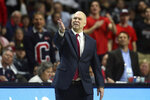 Saint Mary's head coach Randy Bennett instructs his team against BYU during the first half of an NCAA college basketball game in the West Coast Conference tournament, Monday, March 9, 2020, in Las Vegas. (AP Photo/Isaac Brekken)