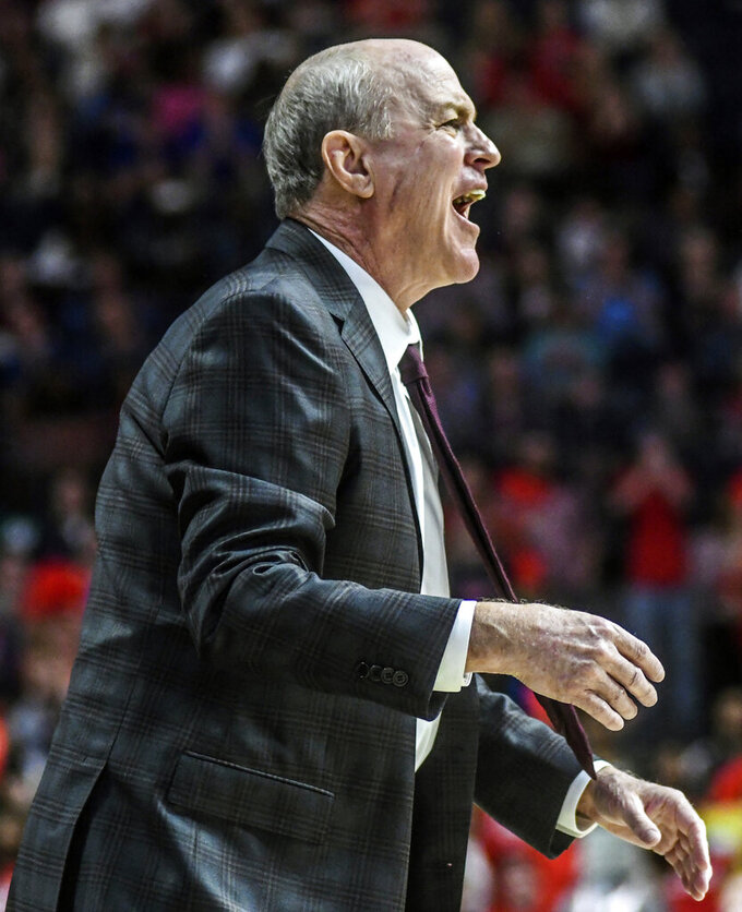 Mississippi State head coach Ben Howland reacts during an NCAA college basketball game against Mississippi in Oxford, Miss., Saturday, Feb. 2, 2019. (Bruce Newman/The Oxford Eagle via AP)
