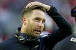 Arizona Cardinals head coach Kliff Kingsbury watches play during the second half of an NFL football game against the Cleveland Browns, Sunday, Dec. 15, 2019, in Glendale, Ariz. (AP Photo/Ross D. Franklin)
