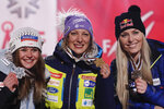 From left, second placed Corinne Suter of Switzerland, winner Ilka Stuhec of Slovenia, and third placed Lindsey Vonn of the United States pose during the medal ceremony for the women's downhill race at the alpine ski World Championships in Are, Sweden, Sunday, Feb.10, 2019. (AP Photo/Gabriele Facciotti)