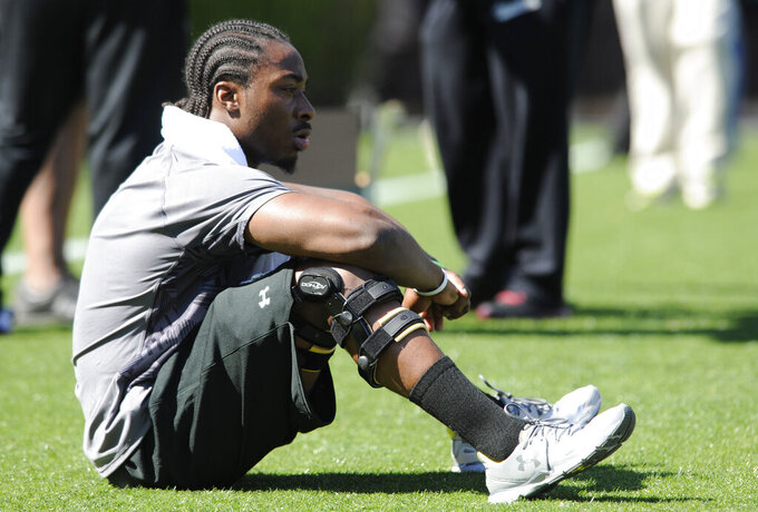 FILE - In this March 27, 2013, file photo, running back Marcus Lattimore looks out on the field before the start of the South Carolina's NFL Pro Day  in Columbia, S.C. Lattimore's task these days comes away from the field in helping the Gamecocks handle the stresses of major college football and prepare for life when the games are over.  Few know better than Lattimore, 27, how things can change for a can't-miss NFL prospect. (AP Photo/Mary Ann Chastain, File)