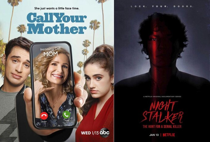 "This combination photo shows art for the comedy series ""Call Your Mother,"" airing on ABC on Wednesday, left, and the documentary series ""Night Stalker: The Hunt for a Serial Killer, premiering on Jan. 13 on Netflix. (ABC, left, and Netflix via AP)"